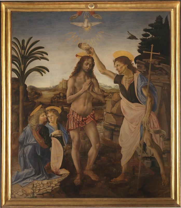 """Il """"Battesimo di Cristo"""" del Verrocchio e di Leonardo da cui è stato tratto l'angelo della 2 euro capolavoro di San Marino"""