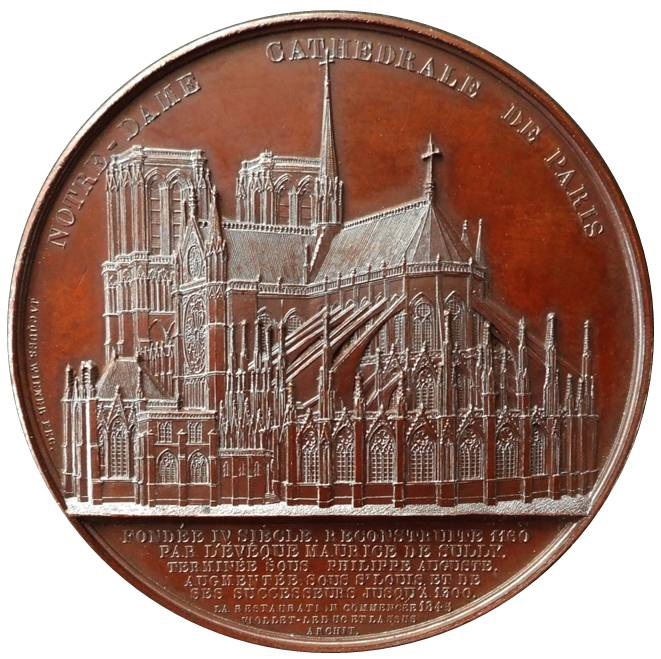 I merletti gotici di Notre Dame de Paris riprodotti in questa bellissima medaglia ottocentesca