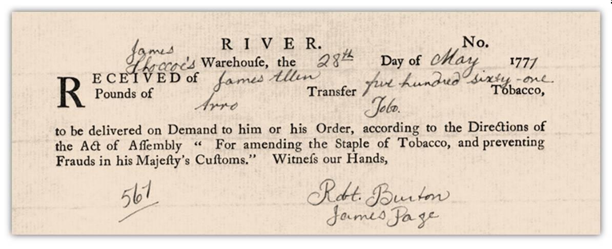"""Una rarissima """"tobacco note"""" messa in circolazione nel Maryland nel 1771 e impiegata come moneta corrente"""