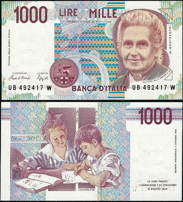 Le mille lire Maria Montessori, fronte e retro all'insegna di colori delicati e di una composizione grafica ineccepibile