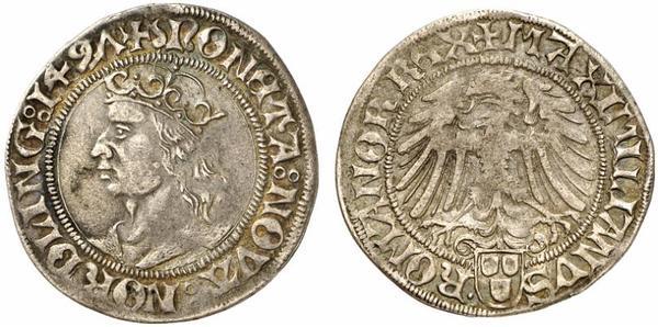 Un rarissimo scellino in argento (g 2,48) del 1497 con ritratto di Massimiliano I e aquila imperiale