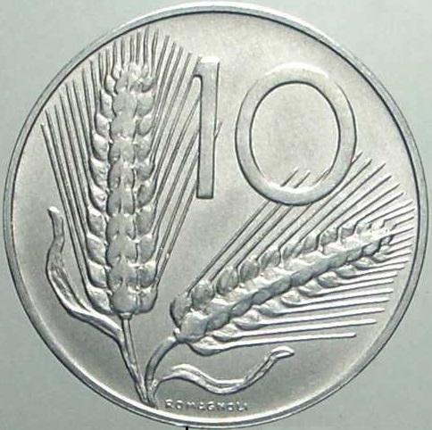 """Rovescio delle 10 lire 1998 """"spighe lunghe"""""""