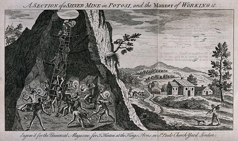 Potosì: in questo modo. fin nei minimi dettagli, un illustratore inglese del XVIII secolo immaginava il lavoro all'interno della miniera d'argento peruviana