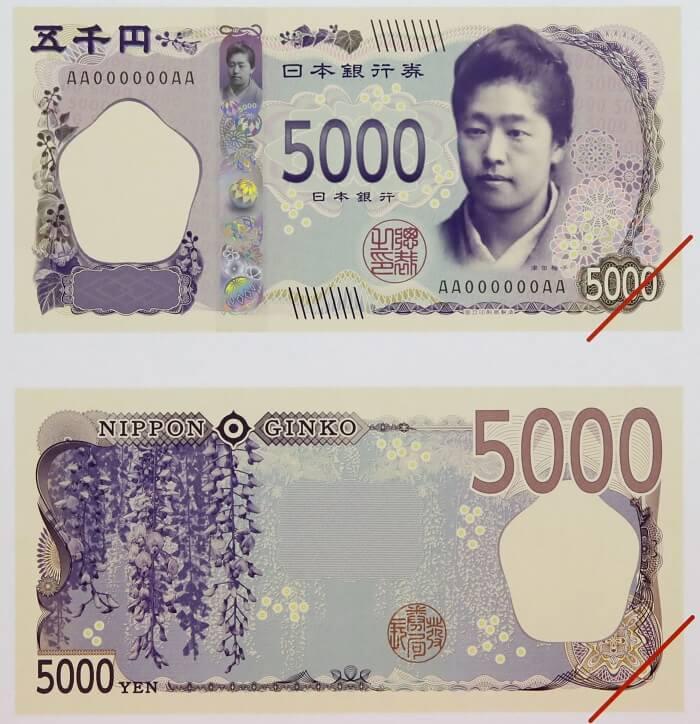 Tre banconote dal Giappone: Tsuda Umeko, fondatrice della Tsuda Juku University sui 5.000 yen