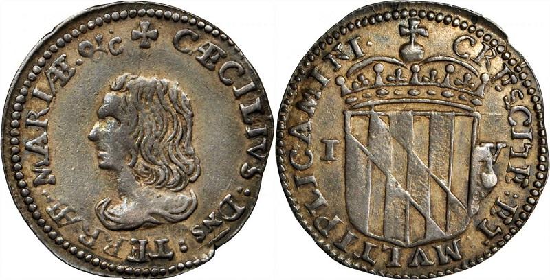 """Una delle monete coloniali del Maryland: il """"groat"""" in argento del 1659 con ritratto di lord Baltimore. Si tratta di un esemplare di grande rarità"""