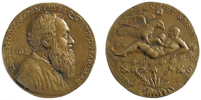 1562. Tommaso Rangone guardian grande della Scuola di San Marco (Matteo Pagano; AE, mm 39 mm; collez. privata)