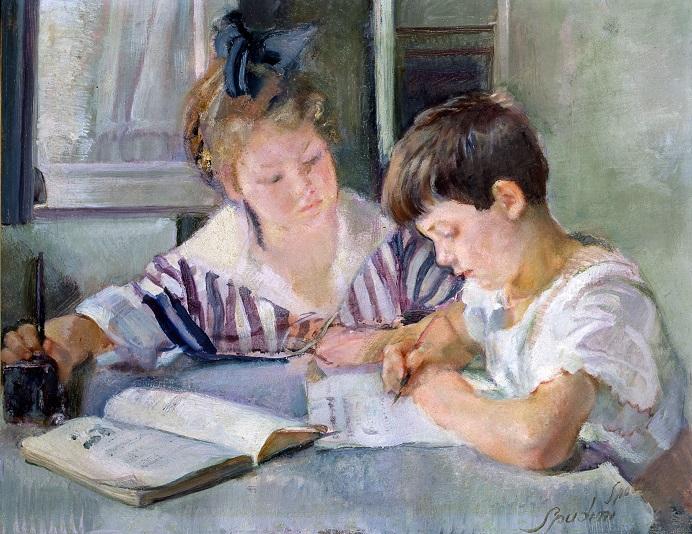 """""""Bambini allo studio"""" di Armando Spadini è il soggetto del retro della banconota e fa parte delle collezioni d'arte di Bankitalia"""