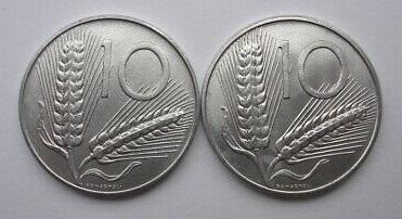 10 lire 1996: a sinistra un rovescio con spighe lunghe, a destra con spighe corte