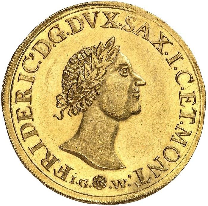Il tallero dell'alchimista, dritto: la moneta del 1687 valeva 6 ducati e fu coniata nella zecca di Gotha con conii incisi da Christian Wermuth. FRIDERIC DG DVX SAX IC ET MONT Testa con corona di alloro rivolta a destra, sotto la firma IG (fiore) W