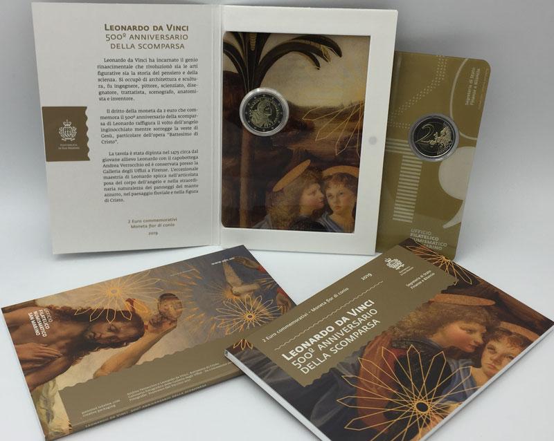 La bella confezione che l'UFN sammarinese ha predisposto per la 2 euro dedicata a Leonardo da Vinci nel 500° della morte