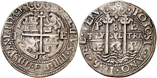 """E' tutto da ammirare questo """"reales de a ocho"""" coniato a Potosì con l'argento locale e data 1666 e che sarà messo all'asta da Aureo & Calicò"""