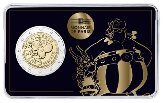 Asterix in compagnia del fidato amico Obelix: una delle tre versioni della coincard che ospita la moneta