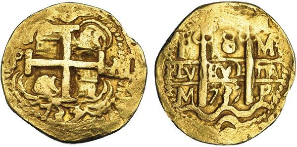 Moneta di fantasia in oro fusa con le impronte del reales de a ocho di Potosì datato 1737: per l'origine questi esemplari dalla metrologia anomala non si ha ancora una spiegazione certa