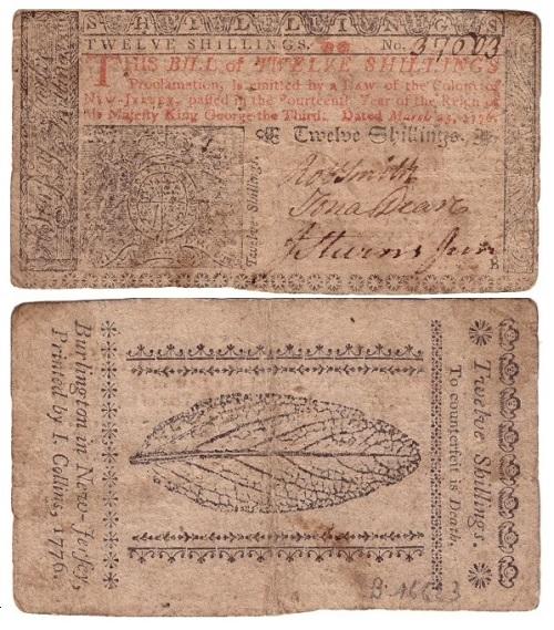 Risale al 1776 questa banconota del New Jersey da 12 scellini che sottolinea ancora, con la figura al rovescio, l'importanza del tabacco nell'economia delle colonie