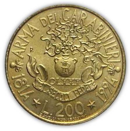 Le 200 lire del 1994 per i 180 anni dei Carabinieri modellate dal maestro Luciano Zanelli
