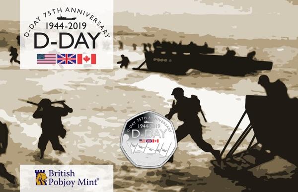 Il blister in cui è confezionata da Pobjoy Mint, per conto del governo di Gibilterra, la 50 pence che ricoda il D-Day