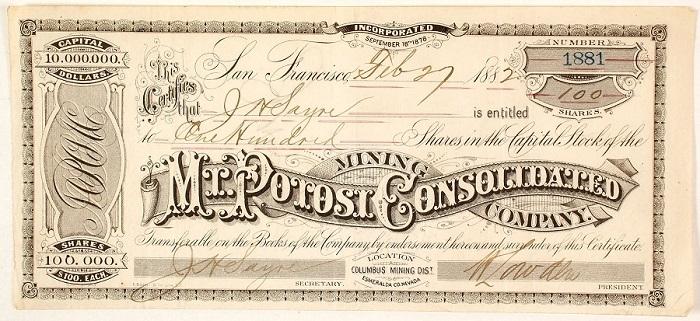 L'importanza nel tempo delle miniere peruviane di Potosì è testimoniata anche da questo certificato azionario emesso nel 1882