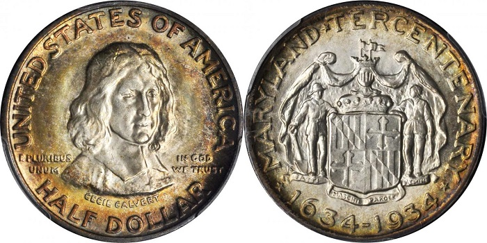 Il bel mezzo dollaro commemorativo dedicato dagli USA, nel 1934, al terzo centenario dalla fondazione del Maryland: al dritto Cecil Calvert, ossia Lord Baltimore