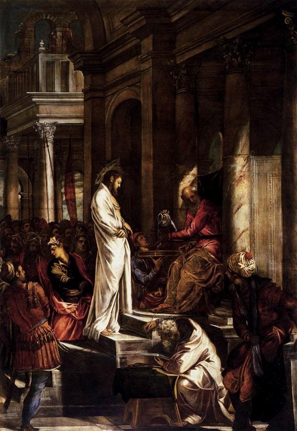 """1566. Jacopo Robusti detto il Tintoretto, """"Cristo davanti a Pilato"""" (Venezia -Scuola Grande di San Rocco)"""