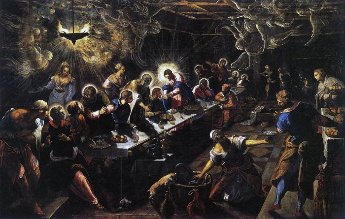 """1592-1594. Jacopo Robusti detto il Tintoretto, """"Ultima cena"""" (Venezia - Basilica di San Giorgio Maggiore)"""