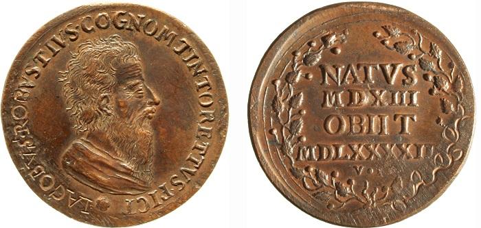 """1790 ca. La medaglia per Tintoretto, della serie degli """"Artisti illustri"""" (Giovanni Zanobi Weber, AE mm 33; Venezia, Museo Correr, XXXIX, 3105)"""