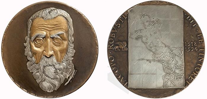 1981. Omaggio della Monnaie de Paris a Jacopo Robusti detto il Tintoretto (M. Charon, AE con argentature e patine, mm 72; collez. privata)