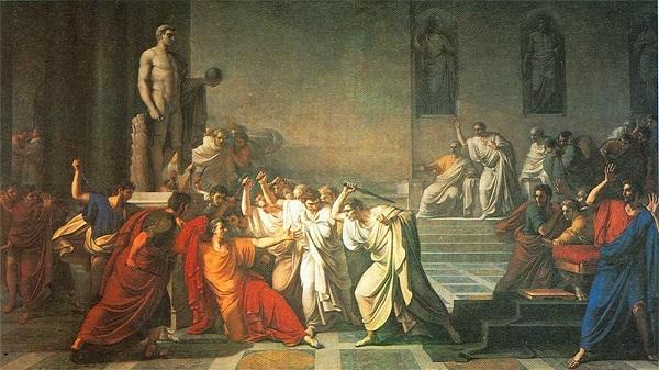 """""""L'uccisione di Cesare"""" di Vincenzo Camuccini (1793-1798); tela, m 4 x 7 (Napoli, Galleria Nazionale di Capodimonte)"""