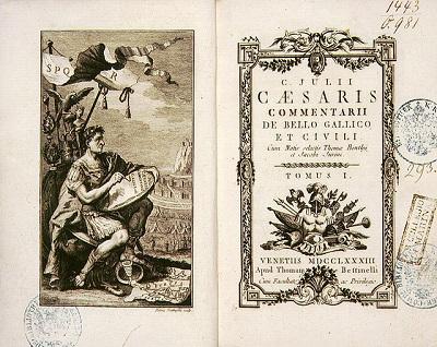 Il frontespizio di una rara edizione degli scritti di Giulio Cesare (Venezia, 1783)