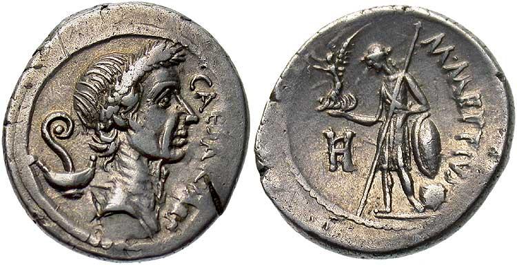Ritratto in moneta di Giulio Cesare di poco precedente alle idi di marzo (Crawford RRC 480/3)
