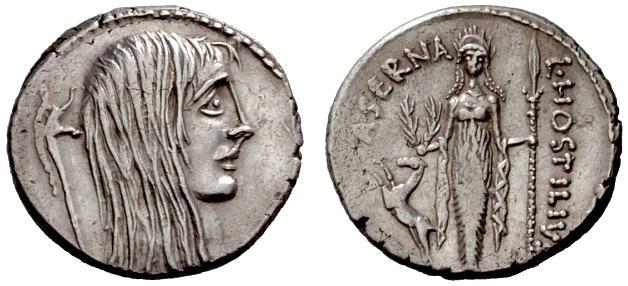 Ostilio Saserna e la Gallia, rappresentata come donna scarmigliata (Crawford 448/3)