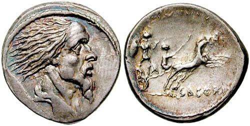 Ostilio Saserna riporta il ritratto di Vercingetorige (Crawford 448/2)