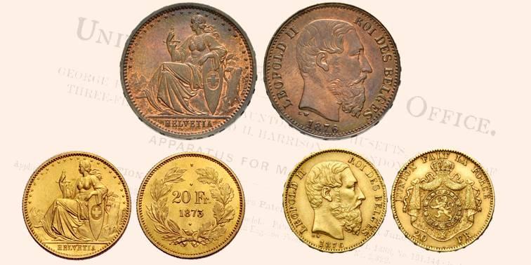 L'ibrido belga-elvetico e le due monete di origine coniate a Bruxelles; il marengo svizzero si distingue per la testina in alto, simbolo della zecca del Belgio