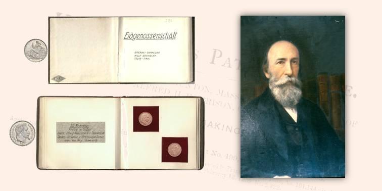 Il quinto ibrido di Champney con impronte di monete francesi e svizzere; a destra ritratto dell'ingegner Champney