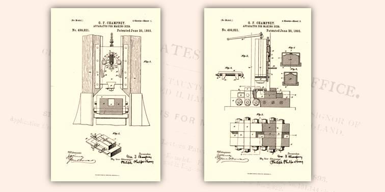 Progetto generale del macchinario per produrre nuovi conii a partire da monete coniate: prime due tavole allegate al brevetto USA del 1893
