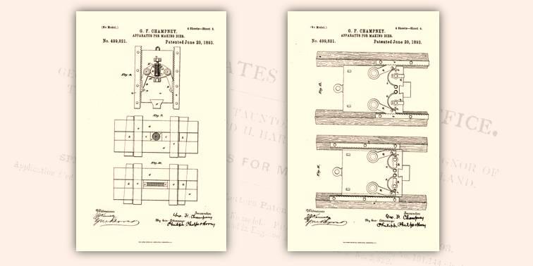 Progetto generale del macchinario per produrre nuovi conii a partire da monete coniate: tavole di dettaglio di parti del dispositivo da zecca