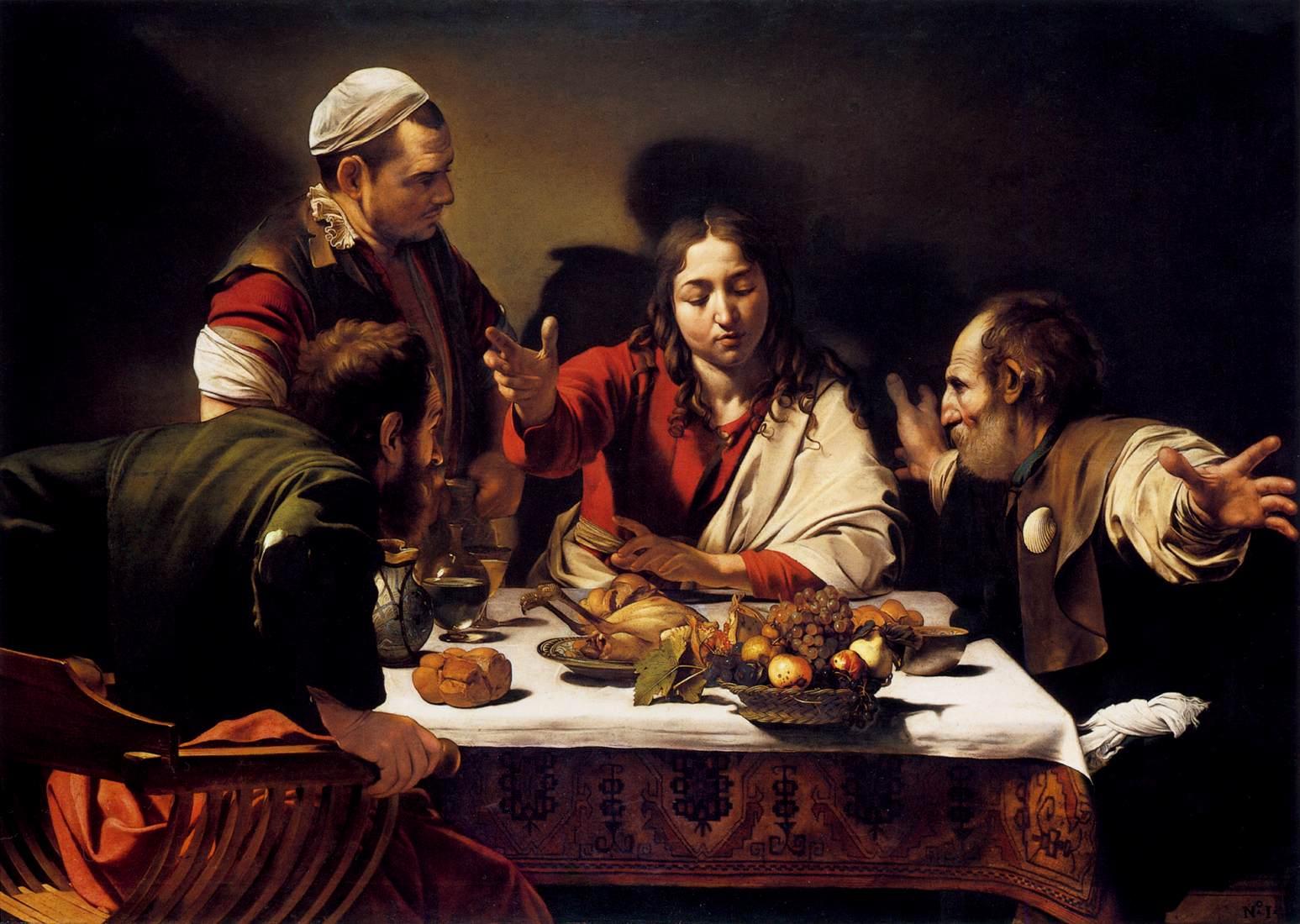 "Michelangelo Merisi da Caravaggio, ""Cena in Emmaus"" (1601, National Gallery, Londra)"