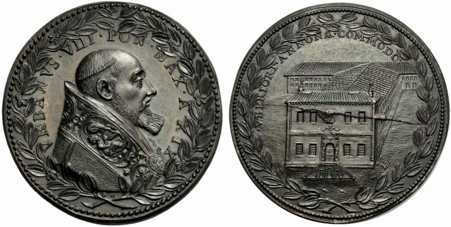 La medaglia di Gaspare Morone del 1642 per Urbano VII (argento, mm 47) al motto di VBERIORI ANNONAE COMMODO sulla quale spicca la facciata dell'edificio con una veduta prospettica che ne esalta la grandiosità
