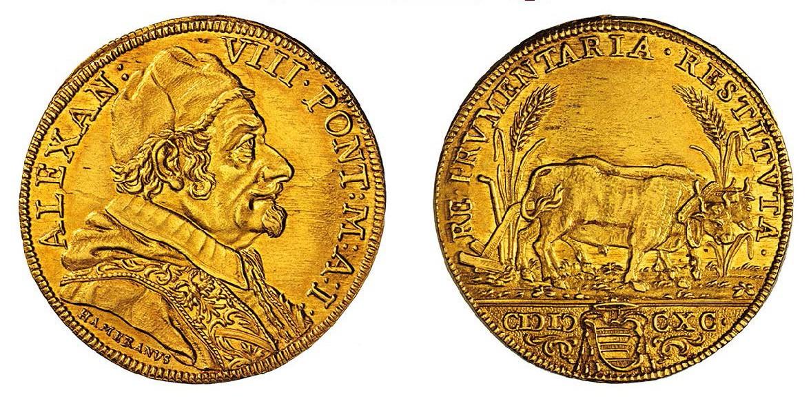 La rarissima quadrupla (oro, mm 32, g 13,41) che commemora la riforma agraria voluta da Alessandro VIII