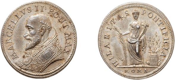 Medaglia postuma in argento (mm 31) per Marcello II: le spighe stavolta compaiono al rovescio, insieme ai frutti, quale simbolo di abbondanza