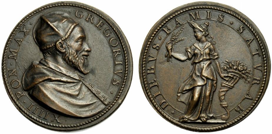 L'Annona in piedi al rovescio di questa bella medaglia in bronzo (mm 34) a nome di Gregorio XIV