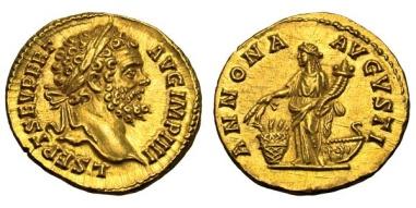 """Aureo di Settimio Severo (193-211) coniato nel 194 con al rovescio l'ANNONA AVGVSTI con cornucopia e """"modium"""" di spighe (oro, mm 20, g 7,28)"""