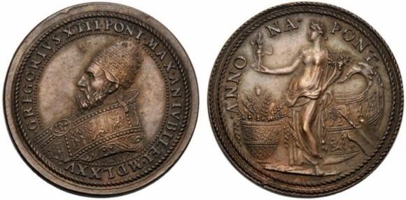 Anche Gregorio XIII Boncompagni fa rappresentare su questa medaglia in bronzo (mm 33) un'Annona derivata dalla numismatica imperiale romana