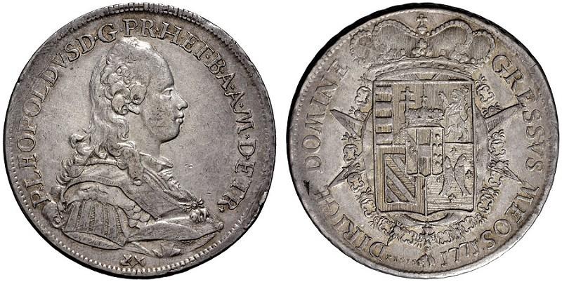 Francescone in argento dal 1771 (mm 41, g 27,35) inciso da Luigi Siries