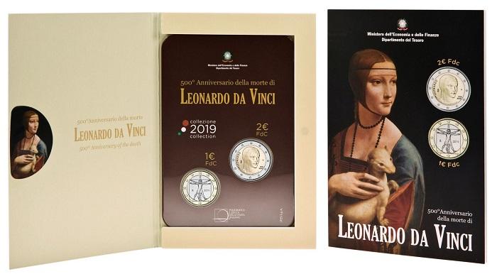 Due capolavori di Leonardo per due bimetalliche: ecco il blister per il genio di Vinci realizzato da IPZS