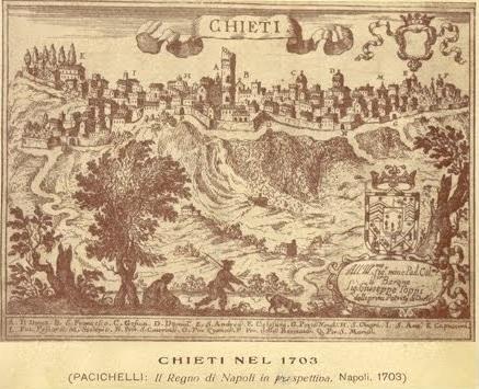 Chieti nel 1703: la città conservava ancora l'aspetto medievale con fortificazioni e torri