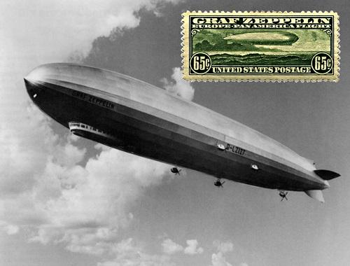 """Cartolina con francobollo USA che celebra il primo volo transatlantico del """"Graf Zeppelin"""" dall'Europa alle Americhe"""