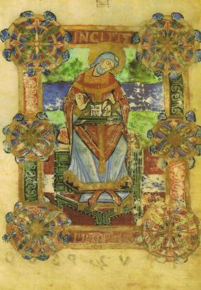 Miniatura raffigurante san Venanzio Fortunato, vescovo di Poitiers