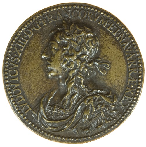 Dritto della medaglia in bronzo di Jean Warin con ritratto di Luigi XIII laureato (mm 72,5 per g 141,4)