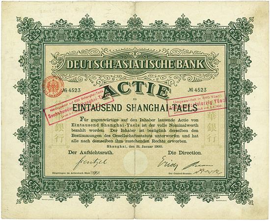 Azione da 100 tael della Deutsch-Asiatische Bank, la banca creata dall'Impero Tedesco in Estremo Oriente