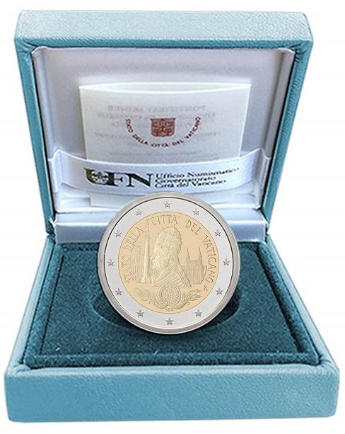 I 2 euro per il 90° di fondazione dello Stato della Cittù deò Vaticano nella versione proof in astuccio